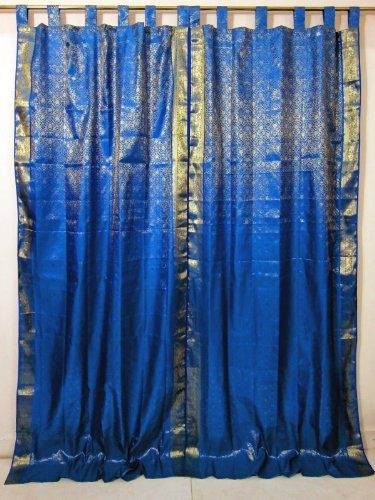 2 blue gold brocade silk sari curtains drapes panel india home decor 97 6400 - Home Decor Ideas India