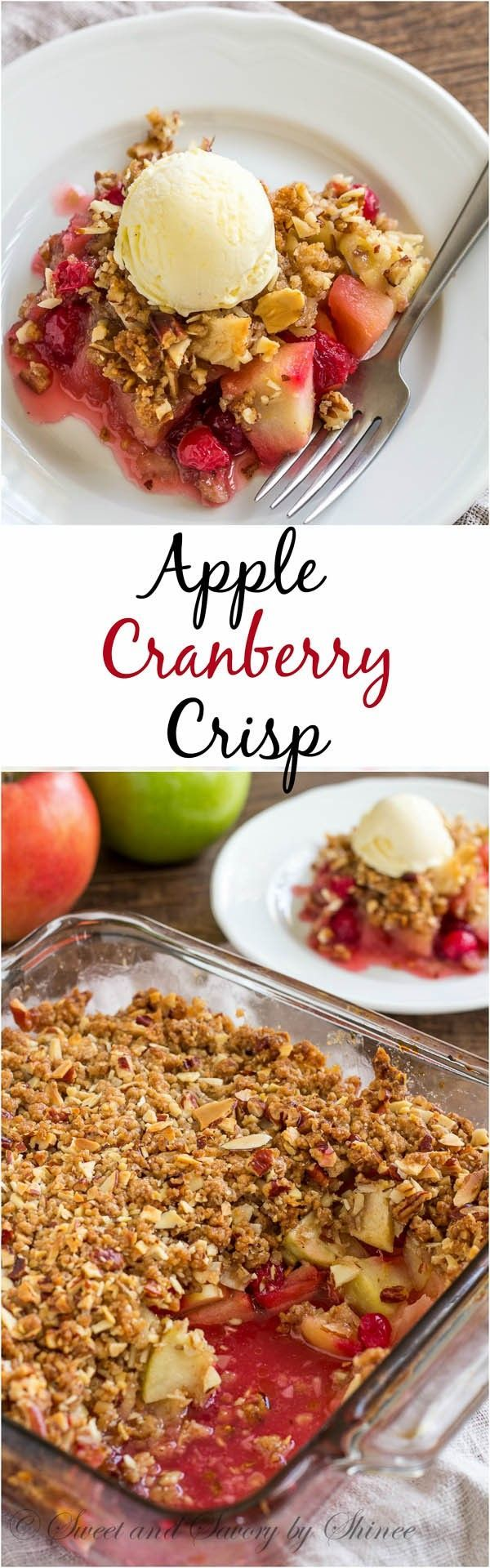 Apple cranberry crisp- Fall calls for comfort food. And what's better than warm apple cranberry crisp with nutty, crunchy crumbs and sweet n' tart apple cranberry filling?