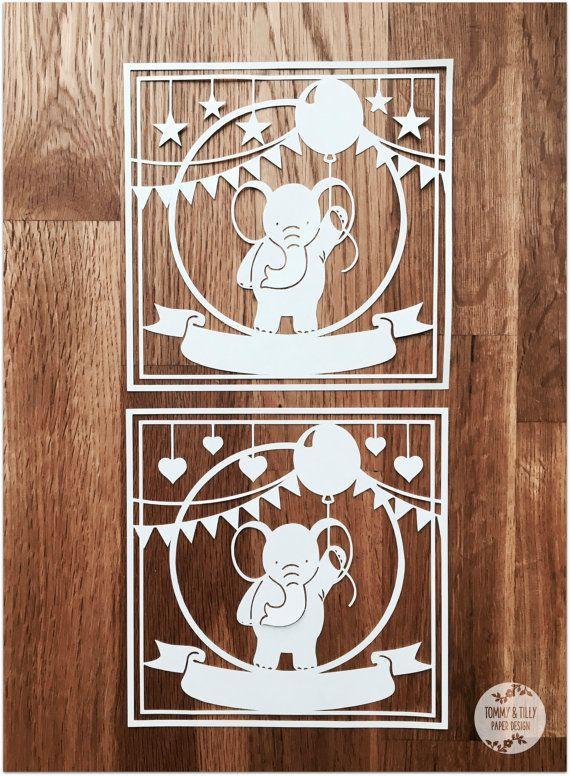 Square Elephant SVG PDF Design  Papercutting Vinyl Template