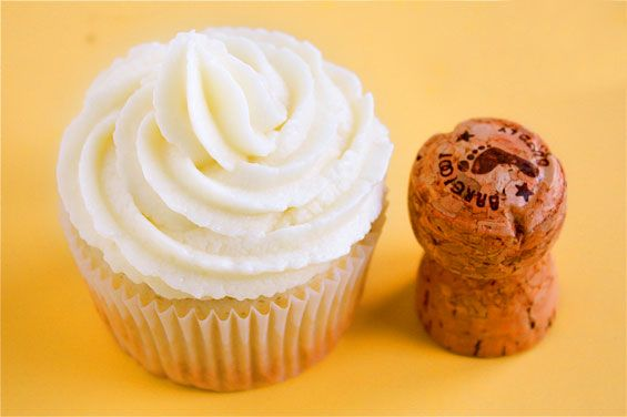 Champagne cupcakes with sweet champagne buttercream frosting. Great for a bridal party :)