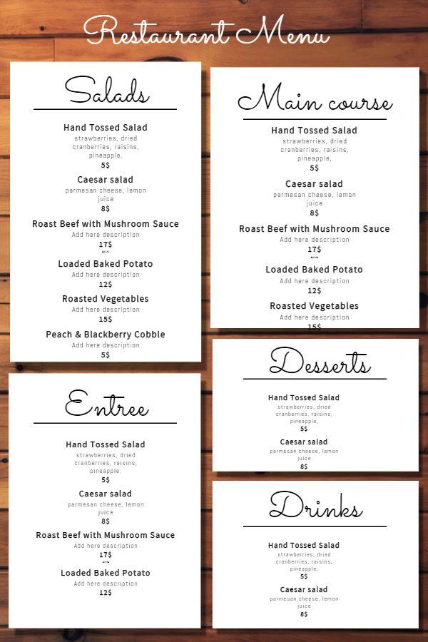 44 best Menu Templates images on Pinterest Menu templates - a la carte menu template