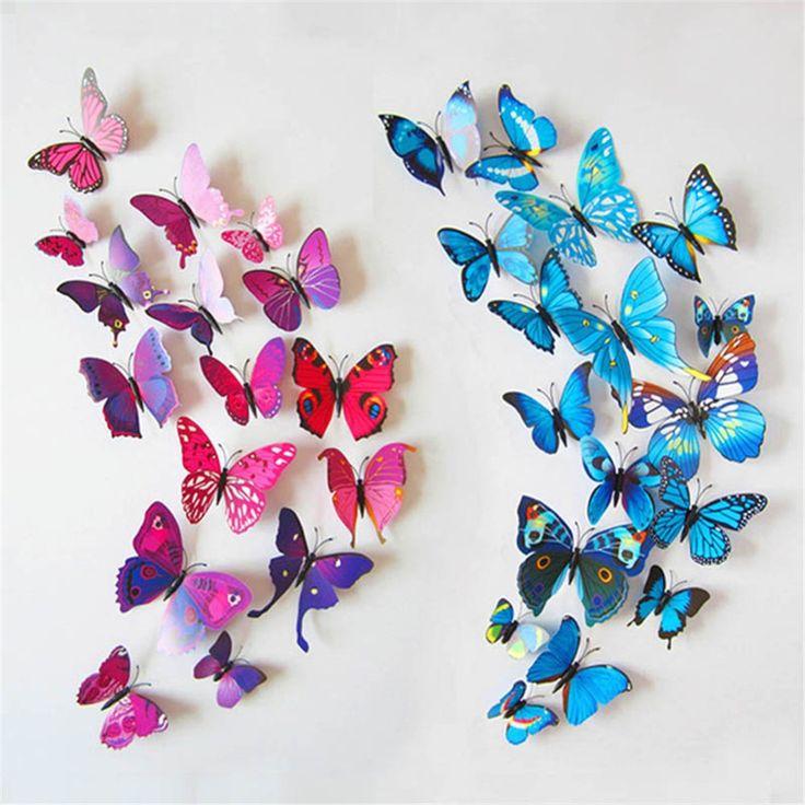 12 stücke Magnet 3D Schmetterling Kunst Wand-aufkleber-abziehbilder Partydekorationen