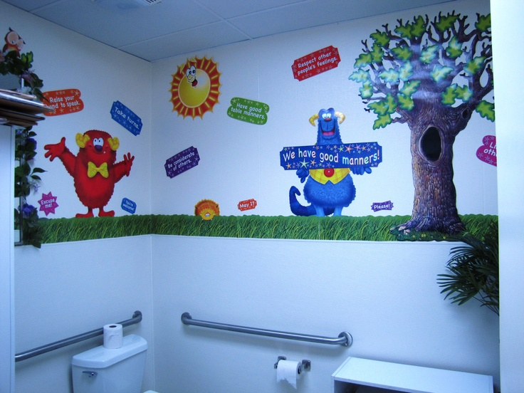 Stratford school bathrooms are even decorated stratford for Washroom decor ideas