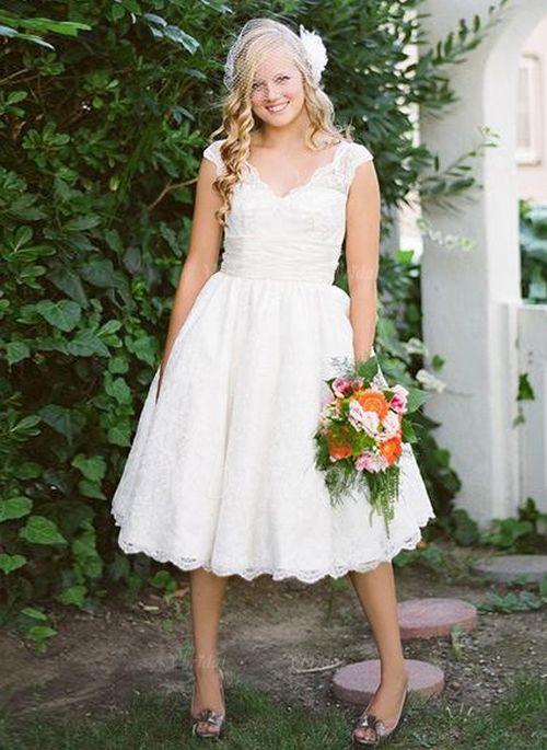 Wedding Dresses - $134.93 - A-Line/Princess V-neck Knee-Length Lace Wedding Dress (0025059074)