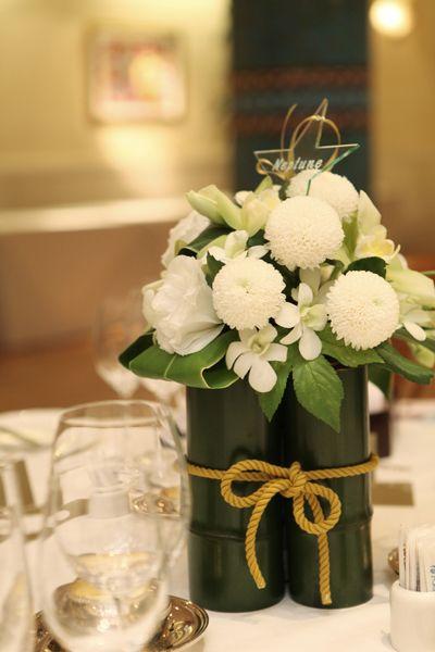 竹の卓上装花