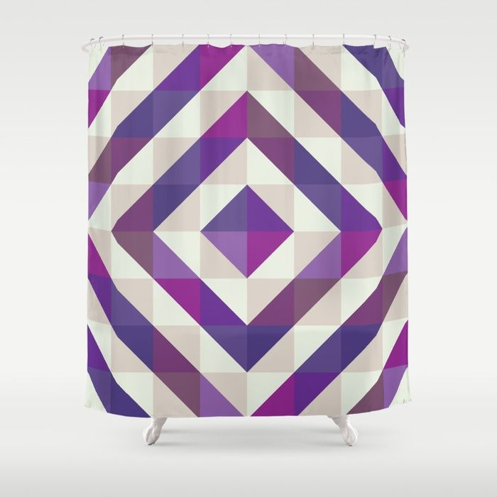 Patchwork Purples Shower Curtain by Fimbis    Ultra violet, purple, interior design, home decor, fashionista, symmetry, fashion, showering, bathroom,