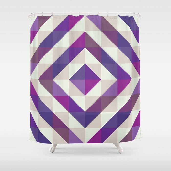 Patchwork Purples Shower Curtain by Fimbis    Ultra violet, purple, interior design, home decor, fashionista, symmetry, fashion, showering, bathroom,
