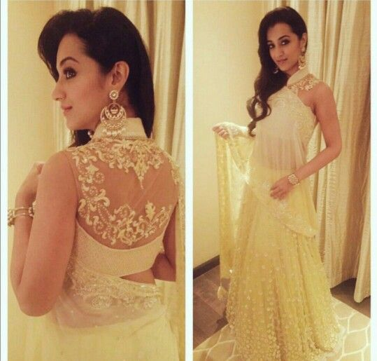 Gorgeous inspiration from Trisha Krishnan for a saree blouse design, and an evening wear churidar suit or lengha