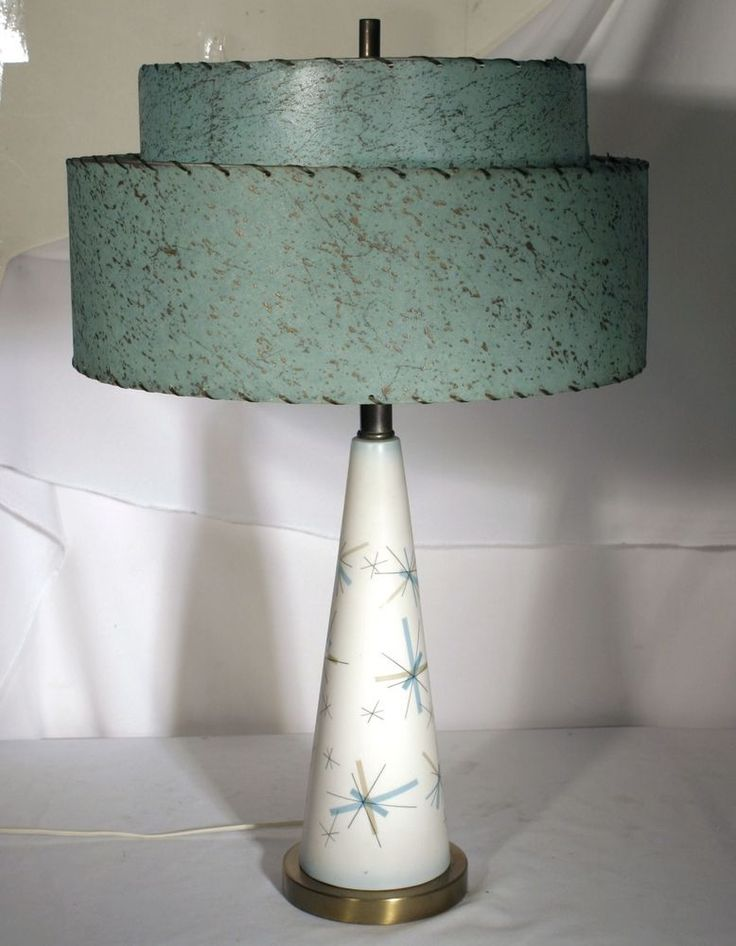 VTG SALEM NORTH STAR LAMP RETRO TURQUOISE FIBERGLASS SHADE MID CENTURY MODERN