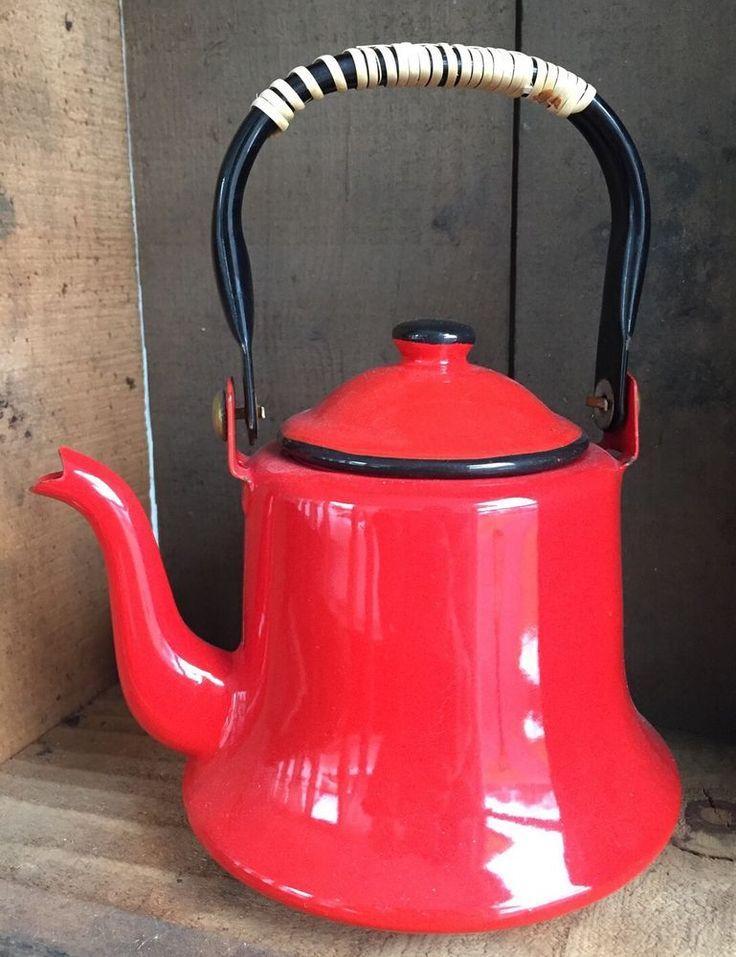 Vtg Red Enamel Tea Pot Rattan Handle 1960's Mod Japan Mid Century Enamelware   eBay
