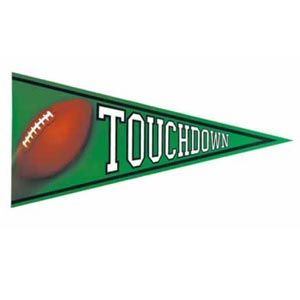 """Football Pennant Cutout. Score a touchdown with these 24"""" Football pennant cutouts. These decorations are printed on both sides."""