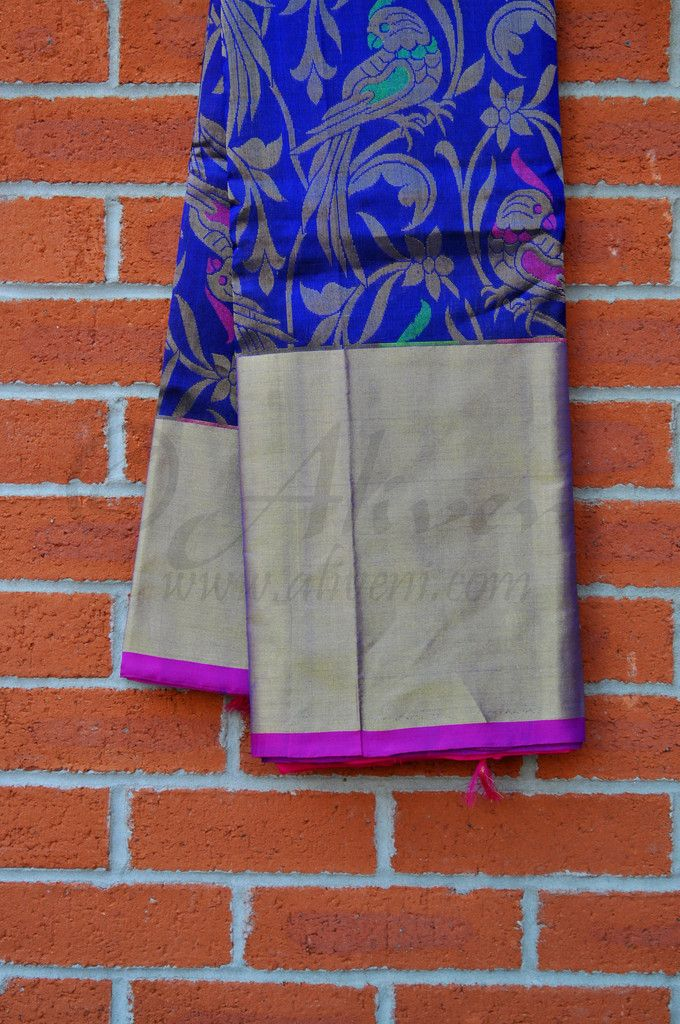 Midnight Blue Kuppadam Pure Pattu Saree with Floral/Parrots Weave all over