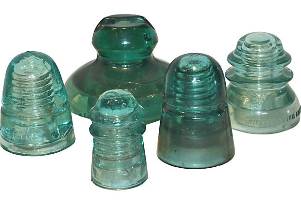 glass telephone pole insulators 5 pcs