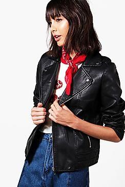 ¡Cómpralo ya!. Cazadora Biker De Piel Sintética Jade.  , chaquetadecuero, polipiel, biker, ante, antelina, chupa, decuero, leather, suede, suedette, fauxleather, chaquetadecuero, lederjacke, chaquetadecuero, vesteencuir, giaccaincuio, piel. Chaqueta de cuero  de mujer color negro de Boohoo.