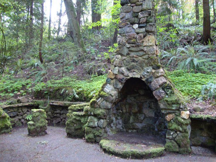 Mossy Stone Fireplace at Leach Botanical Garden