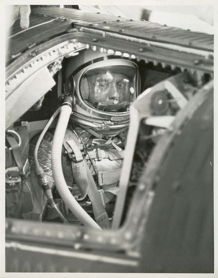 Alan B. Shepard, Jr., seated in the cockpit of Freedom 7, the Mercury space capsule, before launch, 5 May 1961. Vintage NASA Mercury Space Program Photos