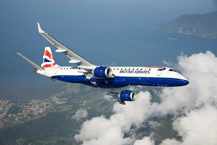British Airways (BA CityFlyer) Embraer 190SR (ERJ-190-100SR) during a pre-delivery flight over the southern coast of Brazil. (Photo: Embraer / British Airways)