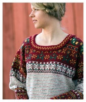The Korsnäs sweater, traditional Finnish fisherman's from Korsnäs, west coast of Finland. A little village next by the Gulf of Bothnia. Upper and lower parts (both body and sleeves) are crocheted, middle parts knitted. Today there are several versions of the sweater with different kind of patterns. Check also www.craftsbykirsi.blogspot.com where I've shortly described the history background.