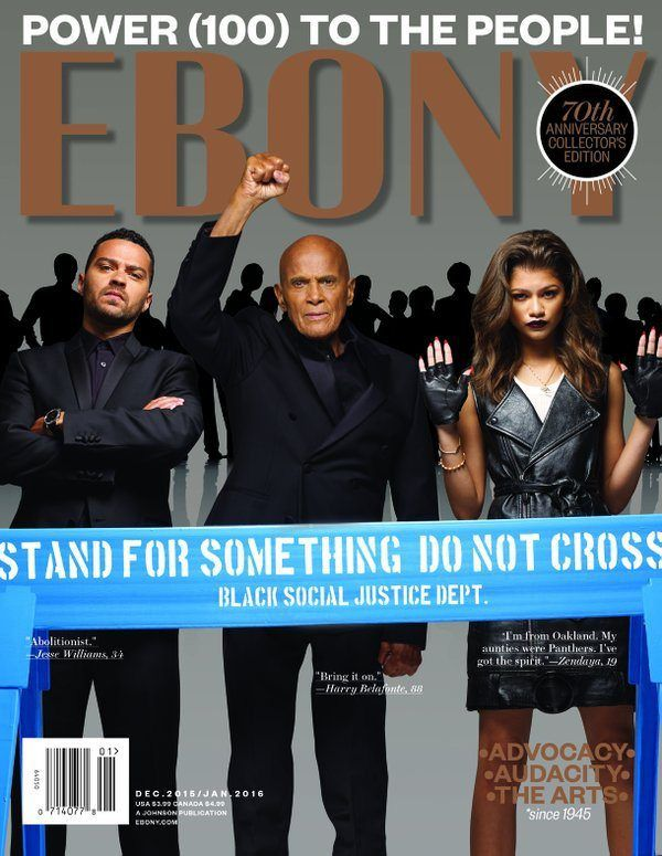 EBONY Unveils Powerful December Cover With Harry Belafonte, Jesse Williams, and Zendaya