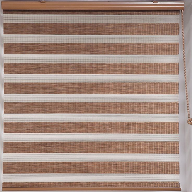 Upscale Designs Zebra Sheer Striped Brown Roller Blind (Bamboo-like Sheered Roller Shade 48 in. x 78 in.)