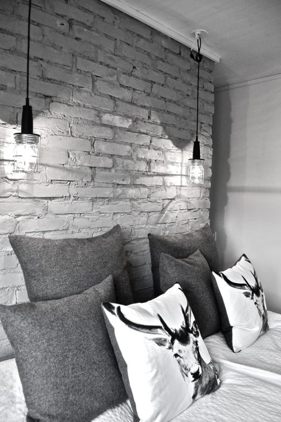 White Brick Wall Lights : Black and white bedroom industrial style: Ideas, Bedside Lamp, Bedrooms Lights, Inspiration ...