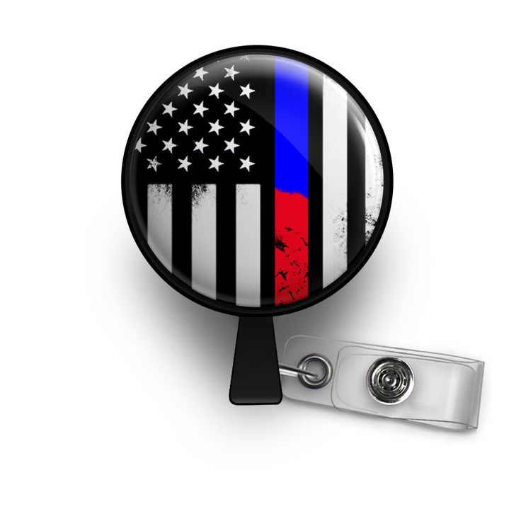 Awesome Thin Blue & Red Line Retractable ID Badge Reel