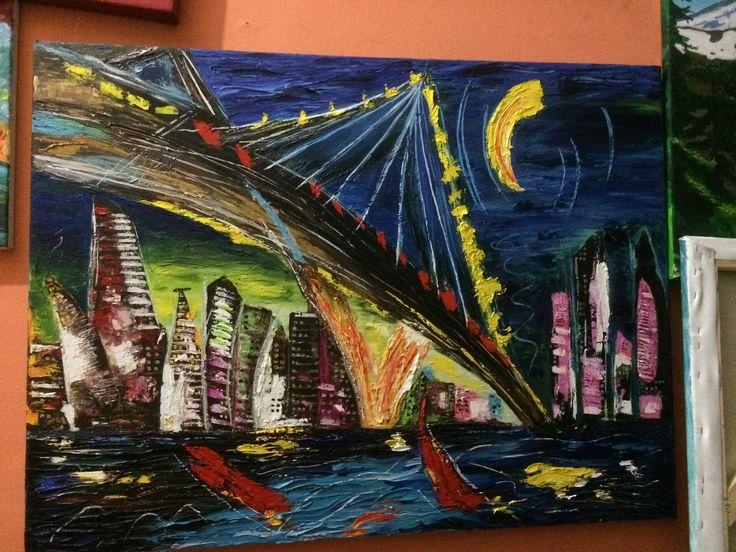 Título: NEW YORK Técnica: Espátula en Oleo Dimensiones: 90x60cm Características:  Cuadro pintados con espátula. Pintura interpretación de obra original del Puente de Brooklyn  del famoso autor Mark Kazav