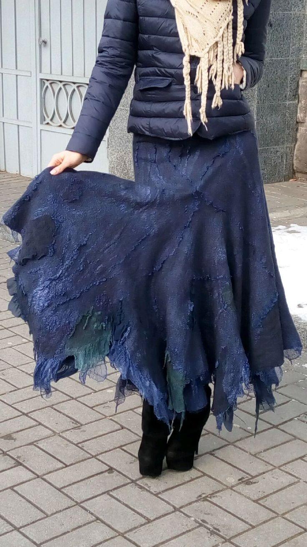 Купить Юбка цвета ИНДИГО,длинная юбка, валяние, одежда из войлока,нунофелтинг - тёмно-синий