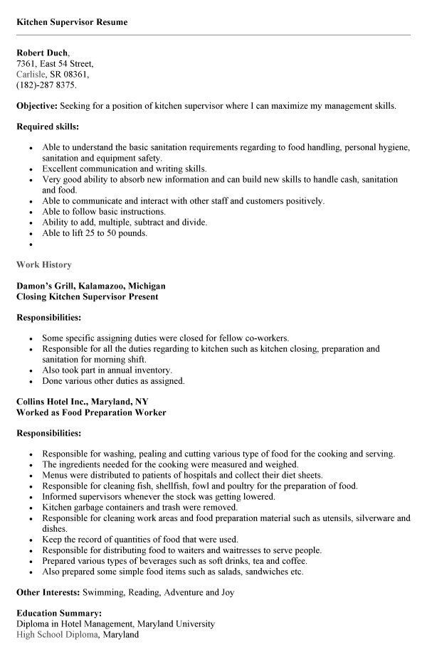Resume Examples Kitchen Hand Resumeexamples