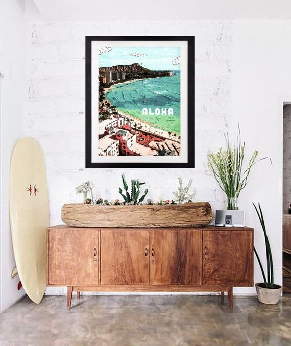 Vintage Hawaii Art Print. Modern surf style home decor. Aloha Waikiki and Diamond Head by local artist, Nathaniel Bart.