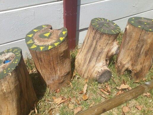 Tree stump seats