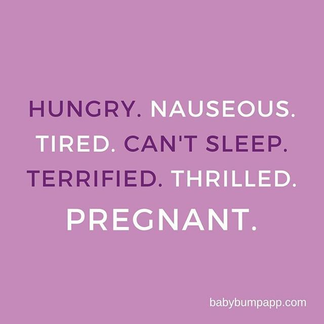 Quotes About Pregnancy Hungry Nauseous Tired Can't Sleep Terrified Thrilled Pregnant