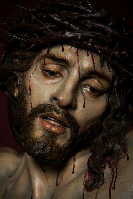 Christ of Mercy, sculpture by Jose Maria Ruiz Montes in Malaga Spain