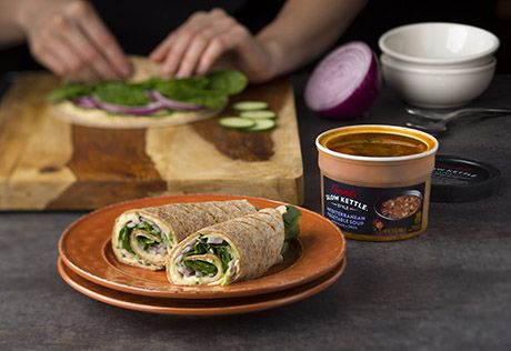 A quick meal doesn't have to be bad for you.  These wraps are loaded with good things like hummus and veggies and all wrapped up in a whole grain tortilla.  Pairs perfectly with our Campbell's® Slow Kettle® Mediterranean Vegetable Soup with Kale and Orzo.