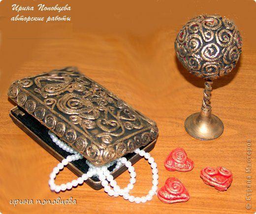 Декор предметов Аппликация из скрученных жгутиков Шкатулочки в технике пейп-арт Салфетки фото 2
