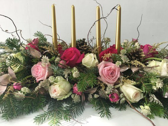 A 3ft Fresh Flower And Pine Spruce Christmas Centrepiece With Taper Candle Decoratio Christmas Table Centerpieces Christmas Table Floral Christmas Centerpieces