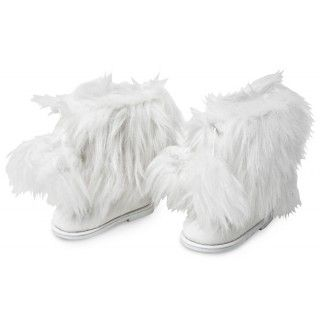 "Maple Cabin Boots: Your ""lodge"" look will be complete with these fluffywhite boots with pom poms.  In the journal pages four Maplelea Girls write letters and challenge you to guess what National Park they have each visited!"