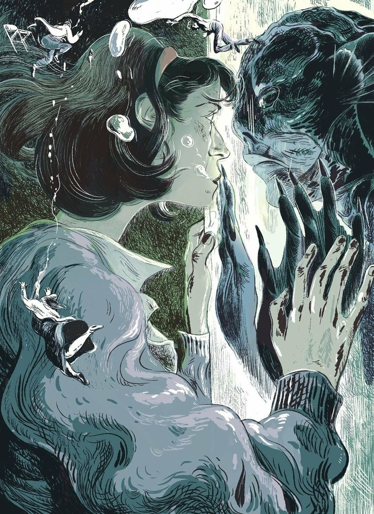 Illustration from The New Yorker review of The Shape of Water, Guillermo del Toro