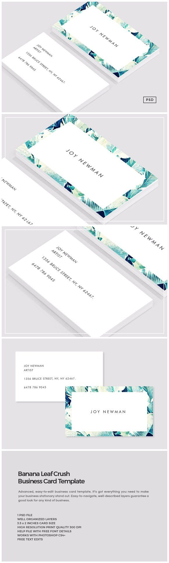 Banana Leaf Crush Business Card by The Design Label on @creativemarket