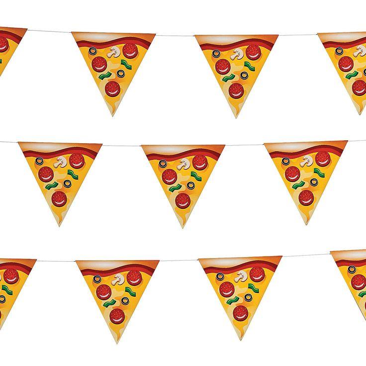 guirlande fanions parts de pizza pour anniversaire tortues ninja