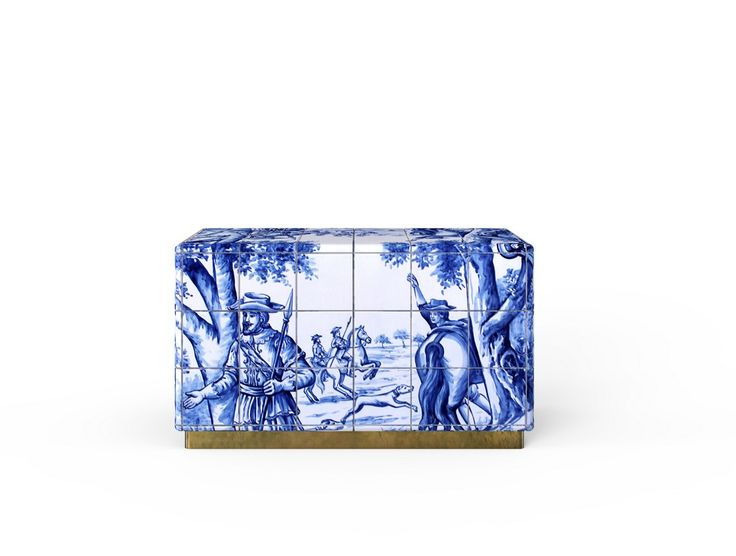 The Heritage Nightstand is influenced by the Azulejo, a landmark in Portuguese culture. Originating from the Arabic word zellige, this traditional hand painted tile that can be found all over the country.   www.bocadolobo.com #bocadolobo #luxuryfurniture #exclusivedesign #interiodesign #designideas #contemporarybedroom #nightstand