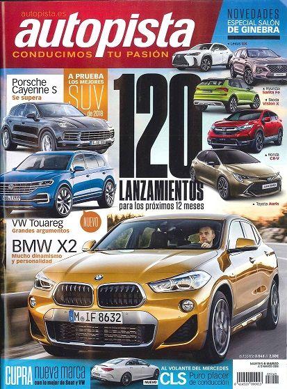 """DEPORTES. """"Autopista"""" El semanario gráfico del motor, es una revista especializada en el mundo del automóvil. Sus reportajes aportan información sobre última tecnología y novedades en todo lo relacionado con motos, marcas de coches, pruebas de automovilismo, etc"""