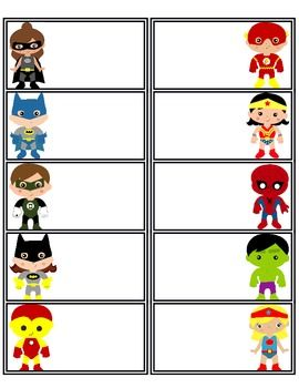 There are 11 pages of superhero name tags. These are great to use at the beginning of the year, field trips, or whenever you need a label. I've made them so that they are printable onto Avery 8663 labels.