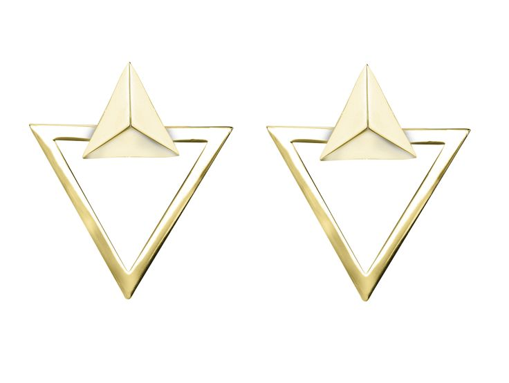 """Boucles d'oreilles """"Trias"""" - Vélizance - Argent doré  #Bijoux #Jewels #Silver #Gold #Design #Tendance #Bijou #FashionJewelry #Velizance"""