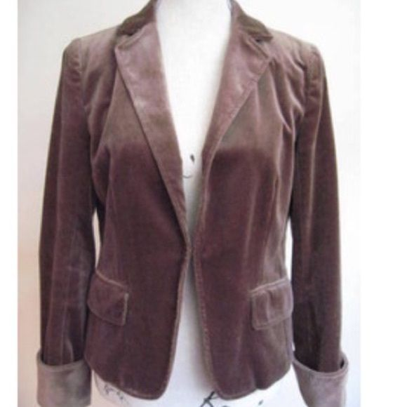 REDUCED J. Crew Velvet Blazer Great for fall!   Previously worn Brown J.Crew Blazer.  Good condition except for stretch marks in Shared material shown in pic. J. Crew Jackets & Coats Blazers