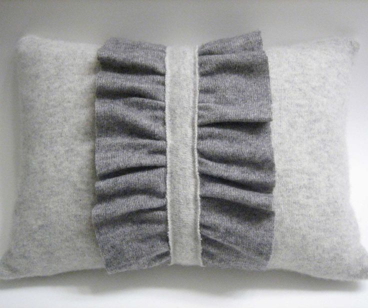 pillow made from recycled cashmere sweater