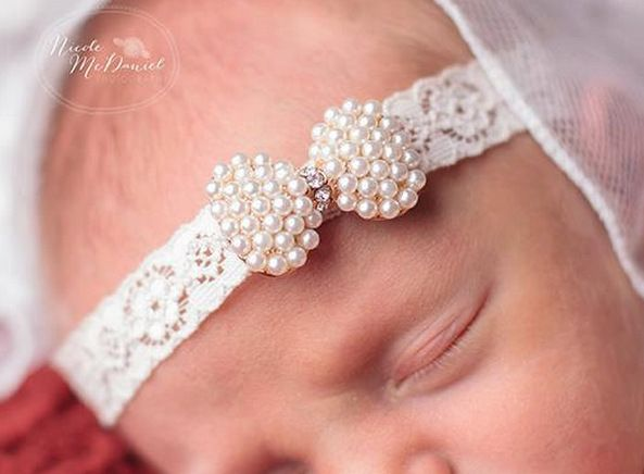Baby Princess Lace Rhinestone Headband Newborn Christening Headband baby girl Baptism headband Kids Hair Accessories 1pc
