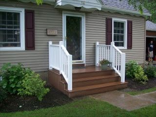 I don't like the colors but I like the wide steps.  Maybe gray with white railings?