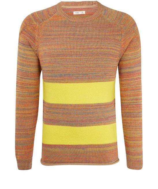 #Folk Yellow Block Stripe Jumper