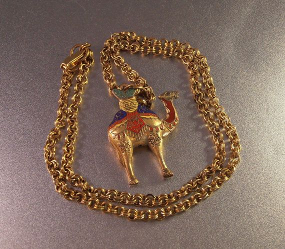 Egyptian Revival Enamel Camel Pendant Necklace by LynnHislopJewels